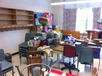 classroom set up before - giant mess
