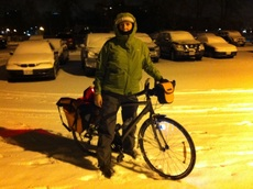 Vera biking in snow