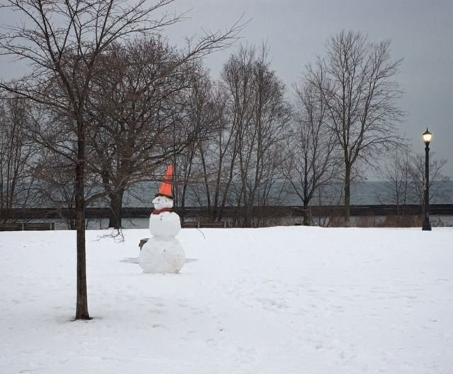 Picture of snowman along lake ontario